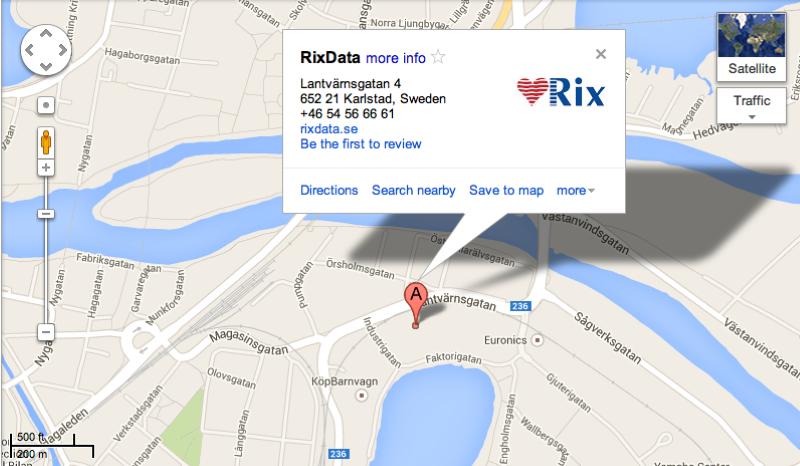 Karta RixData Lantvärnsgatan 4 Karlstad