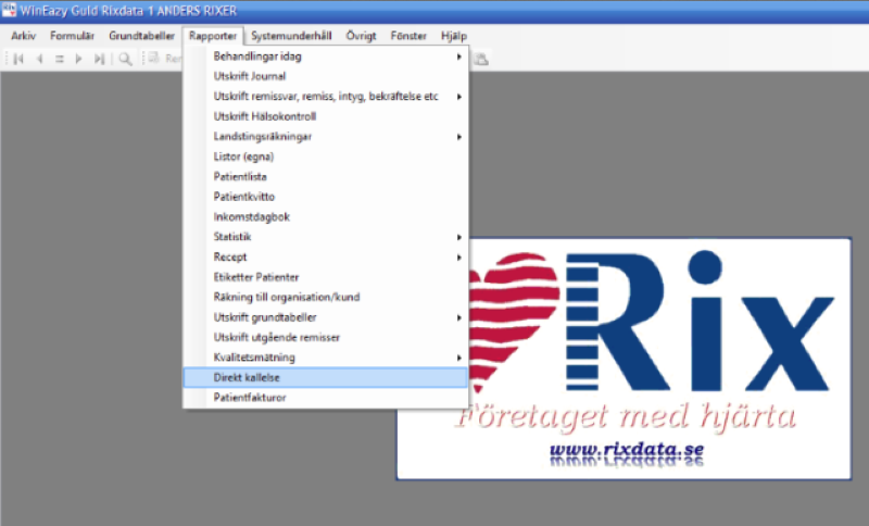 Rapporter>Direkt Kallelse SMS | RixData journalsystem
